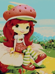 Strawberry girl puppet carpet,  Toos Mashhad
