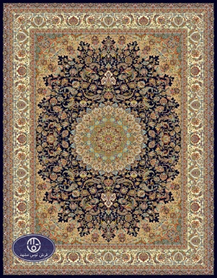 700reeds machine made carpet, Isfahan pattern, navy blue