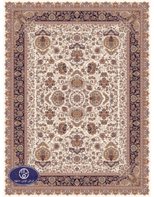 700reeds machine made carpet, Afshan3 pattern. cream background with navy blue margins