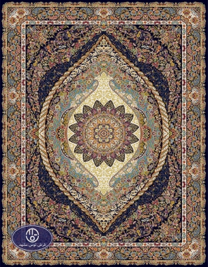 700reeds machine made carpet, Shayan pattern, navy blue