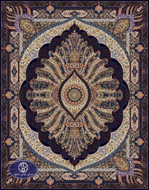 700reeds machine made carpet, Shabnam pattern. Navy blue