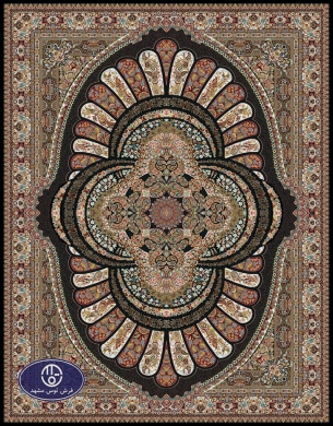 700reeds machine made carpet, Gol Afarin pattern, navy blue