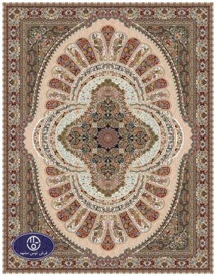 700reeds machine made carpet, Gol Afarin pattern, cream