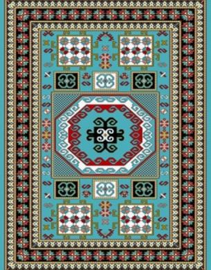 فرش عشایری کد AB081،توس مشهد،آبی فیروزه ای