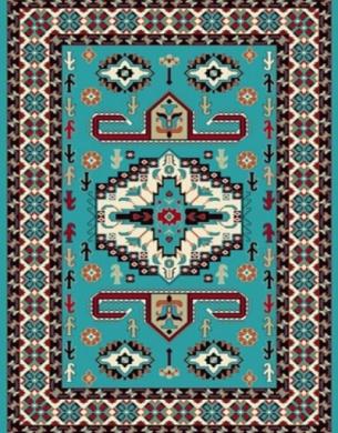 فرش عشایری کد AB082،توس مشهد،آبی فیروزه ای