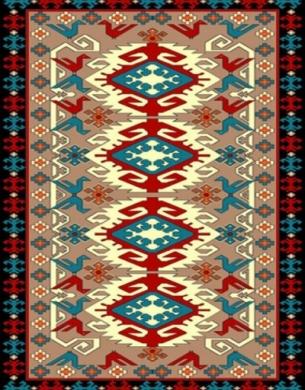 فرش عشایری کد AB091،توس مشهد،شکلاتی