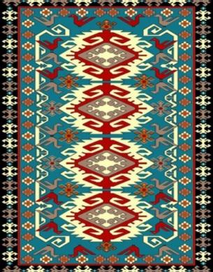 فرش عشایری کد AB091،توس مشهد،آبی فیروزه ای