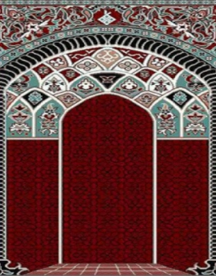 فرش سجاده ای طرح آفاق قرمز طرح دار - 03