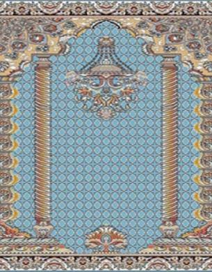 فرش سجاده ای طرح هیما آبی - 01