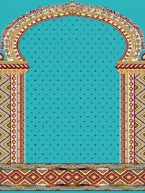فرش سجاده ای طرح خاطره آبی فیروزه ای -05