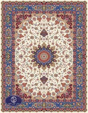 فرش ماشینی هزار شانه طرح اصفهان2,توس مشهد,کرم