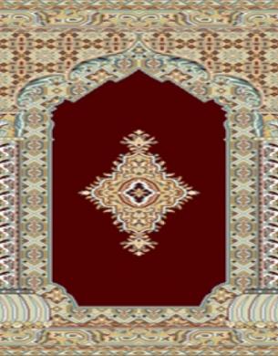 prayer carpet, khezra pattern, red
