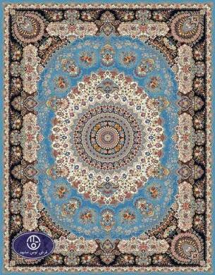 فرش ماشینی 1000 شانه طرح پانیک,توس مشهد,آبی 02