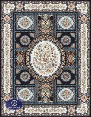 فرش گل برجسته 1000 شانه،توس مشهد،سرمه ای 8041