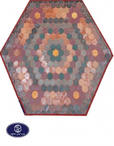 Toos Mashhad leather and skin rug, code 17