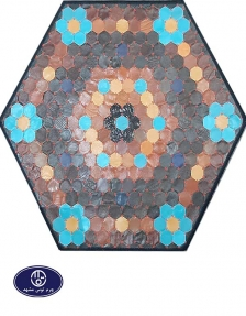 Toos Mashhad leather and skin rug, code 18