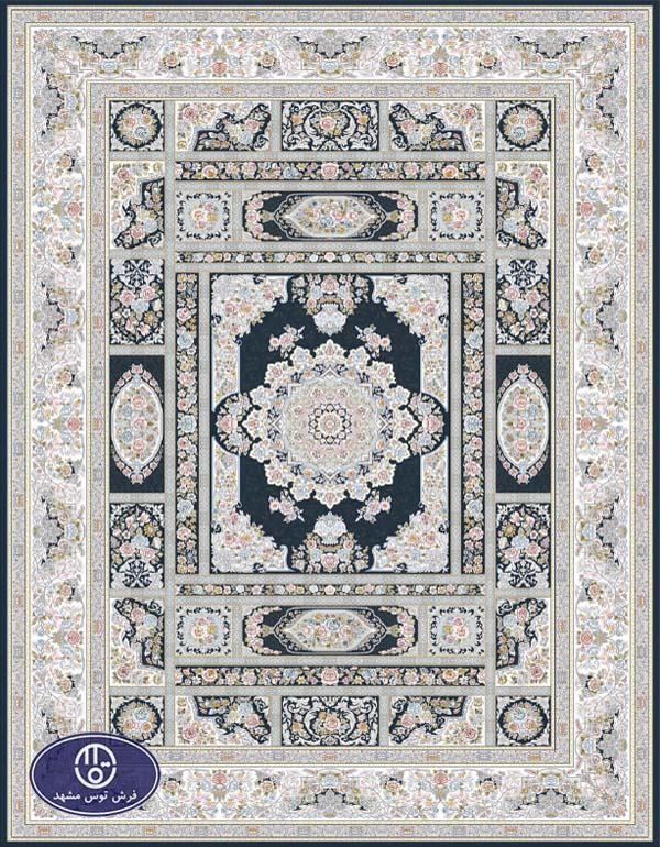 فرش 1500 شانه طرح خشتی سرمهای
