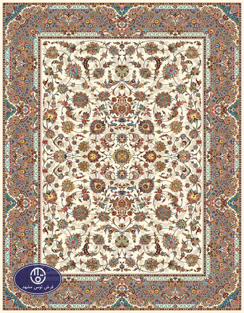 فرش 700 شانه طرح افشان کد 7050،توس مشهد،کرم