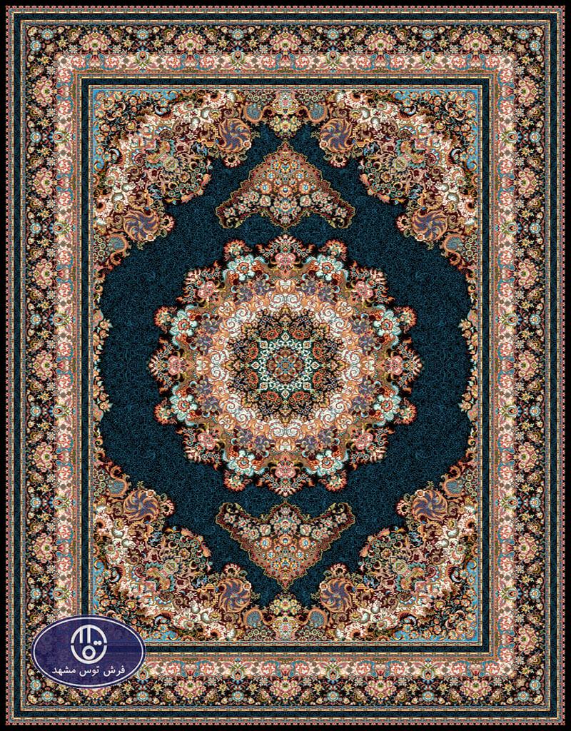 فرش 700 شانه طرح شادی کد 7017،توس مشهد،سورمه ای