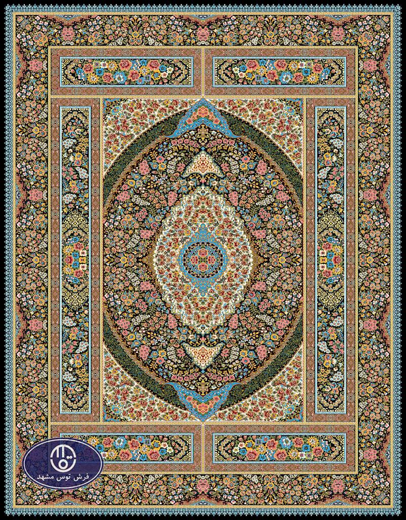فرش 700 شانه طرح شورانگیز کد 7025،توس مشهد،سورمه ای
