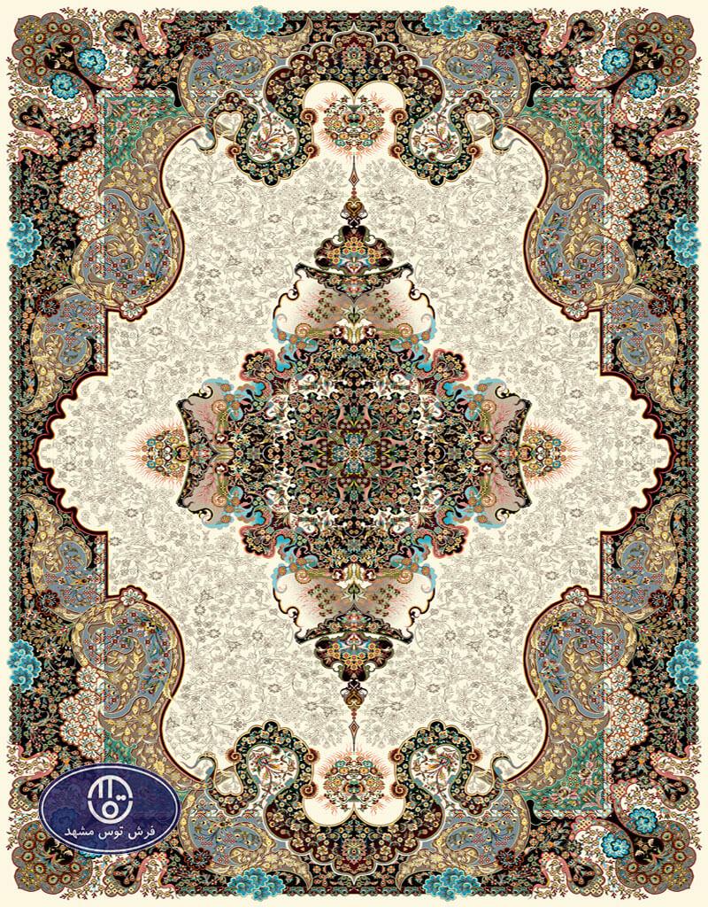 فرش 700 شانه طرح شیفته کد 7009،توس مشهد،کرم