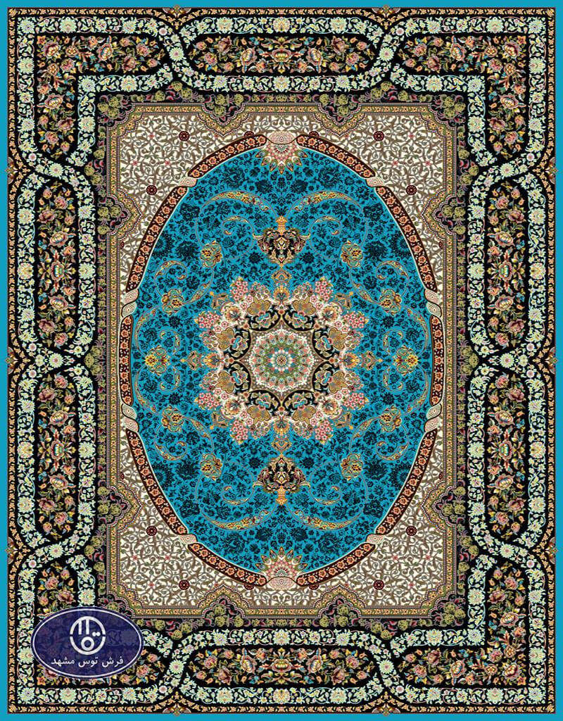 فرش 700 شانه طرح شینا کد 7069،توس مشهد،آبی فیروزه ای