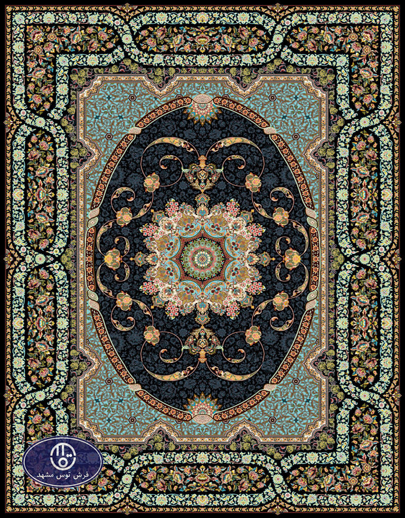 فرش 700 شانه طرح شینا کد 7069،توس مشهد،سورمه ای
