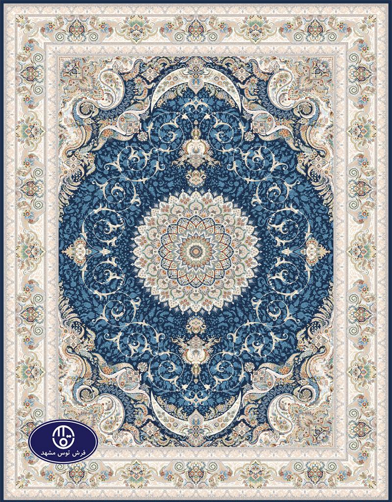 فرش گل برجسته،توس مشهد،آبی کاربنی 8036