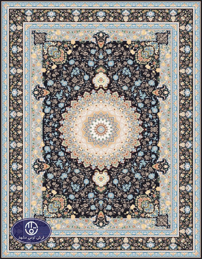 فرش گل برجسته،توس مشهد،سرمه ای 8059