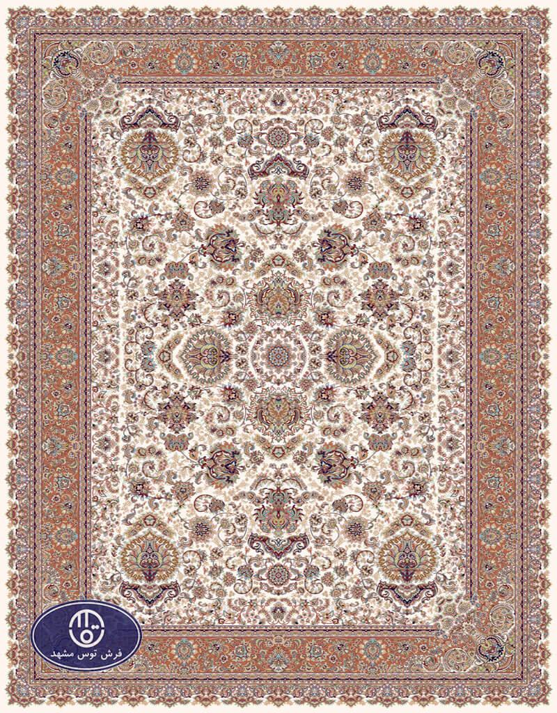 فرش 700 شانه،افشان3,توس مشهد،کرم حاشیه گلبهی
