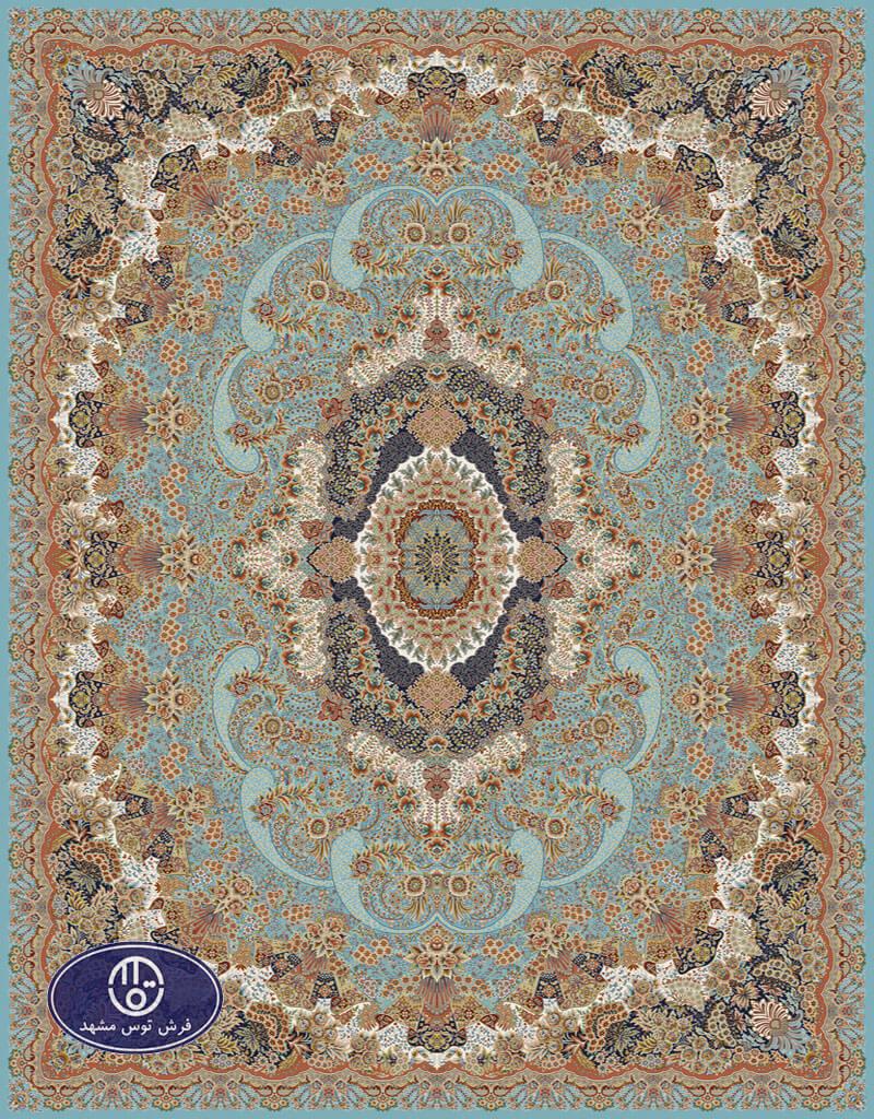 فرش 700 شانه، گل آرا، توس مشهد،آبی فیروزه ای