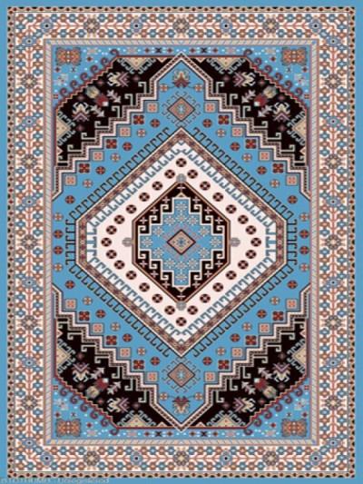 فرش عشایری کد AB079،توس مشهد،آبی فیروزه ای