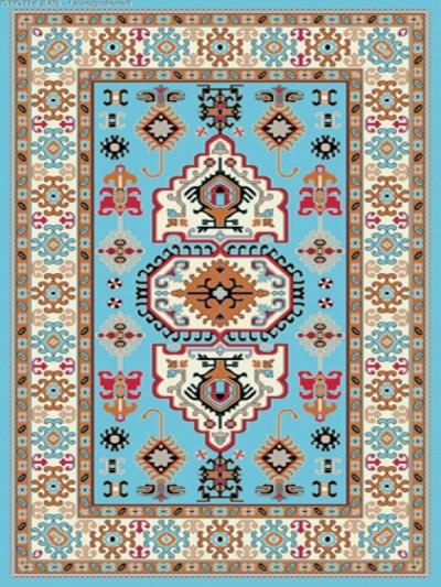 فرش عشایری کد AB084،توس مشهد،آبی فیروزه ای