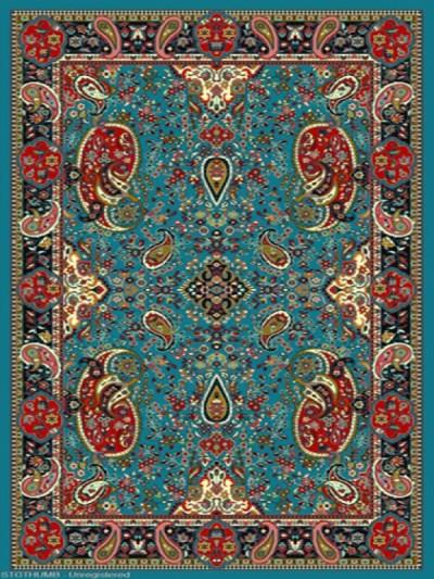 فرش عشایری کد AB086،توس مشهد،آبی فیروزه ای
