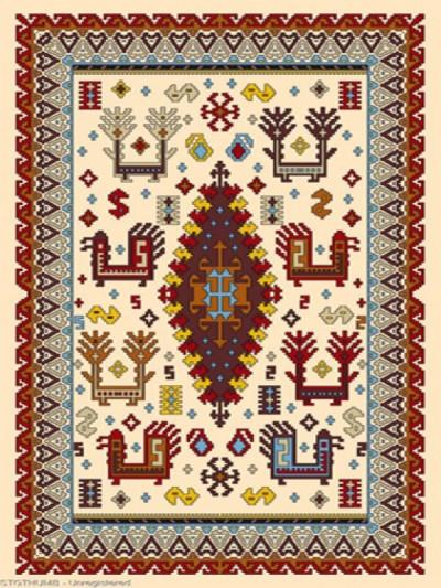 فرش عشایری کد AB089،توس مشهد،کرم