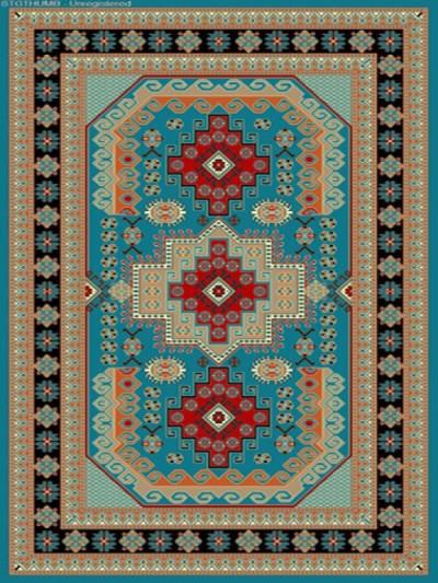 فرش عشایری کد AB090،توس مشهد،آبی فیروزه ای