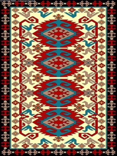 فرش عشایری کد AB091،توس مشهد،کرم