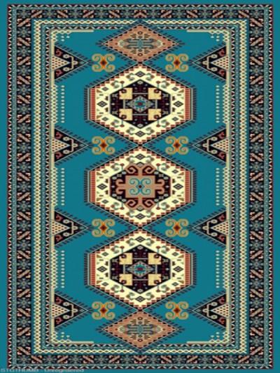 فرش عشایری کد AB092،توس مشهد،آبی فیروزه ای1