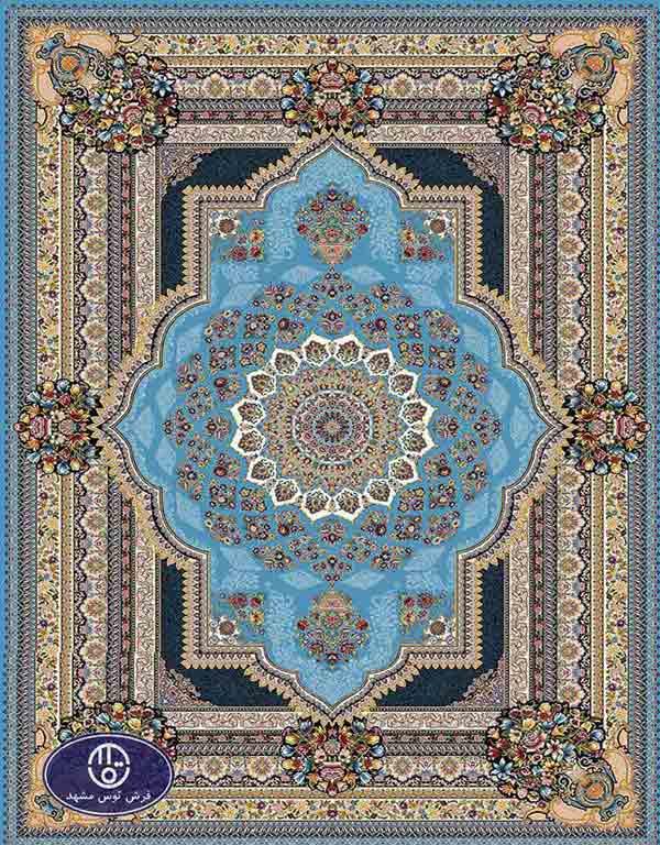 فرش ماشینی 1000 شانه کد 8066,توس مشهد,آبی