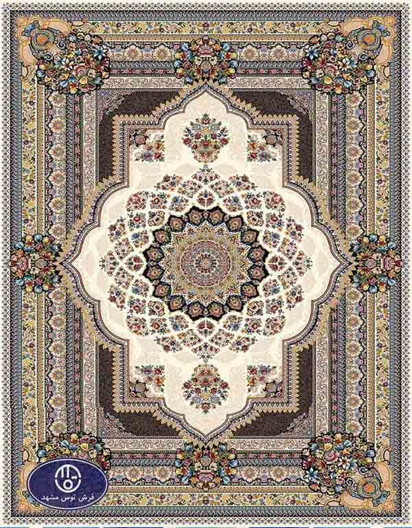 فرش ماشینی 1000 شانه کد 8066,توس مشهد,کرم
