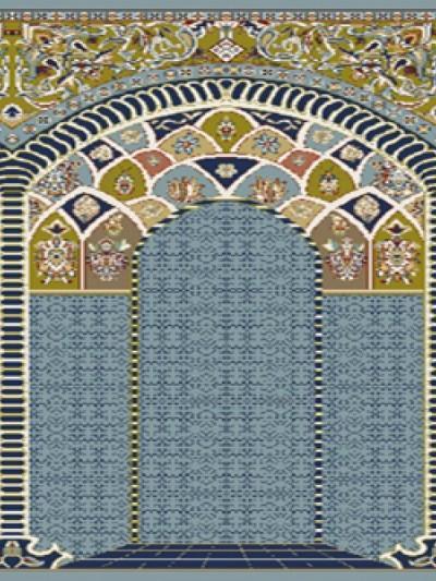 فرش سجاده ای طرح آفاق آبی طرح دار - 02