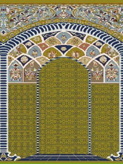 فرش سجاده ای طرح آفاق سبز روشن طرح دار - 04