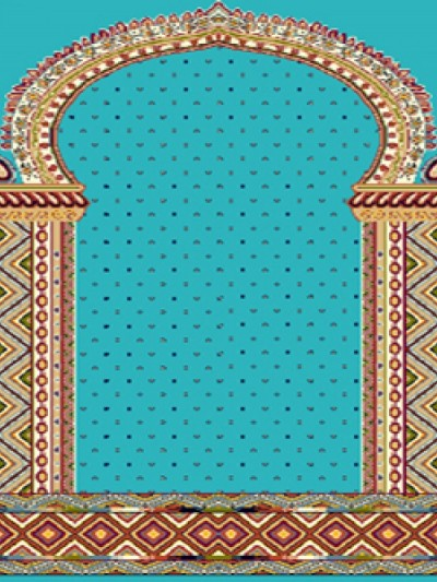prayer carpet, Khatere pattern, blue
