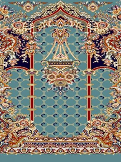 prayer carpet, Tasnim pattern, navy blue