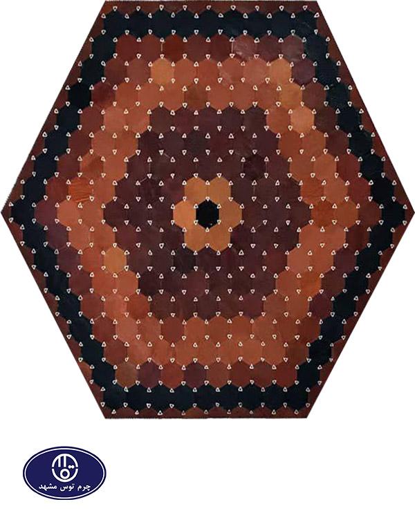 Toos Mashhad leather and skin rug, code 20