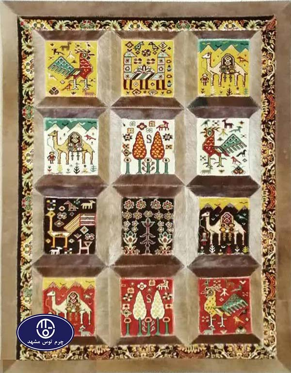 Toos Mashhad leather and skin rug, code 10