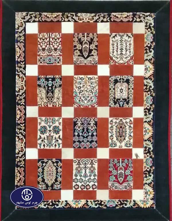 Toos Mashhad leather and skin rug, code 12