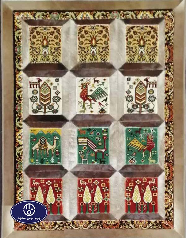 Toos Mashhad leather and skin rug, code 8