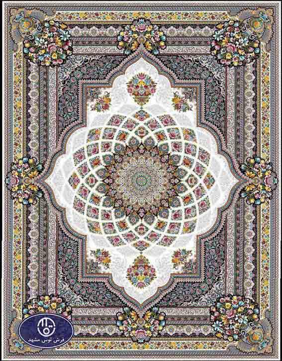 فرش ماشینی 1200 شانه کد 1264,توس مشهد,کرم