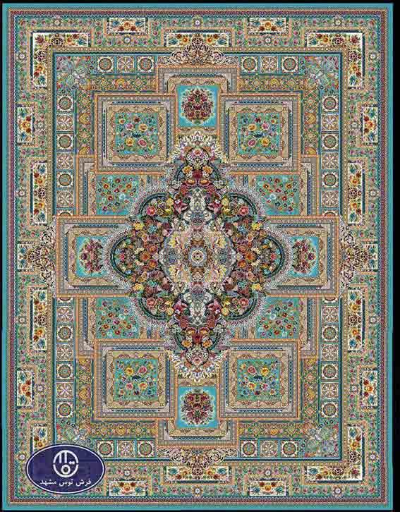 فرش ماشینی 1200 شانه طرح ماهور کد 5032,آبی,توس مشهد